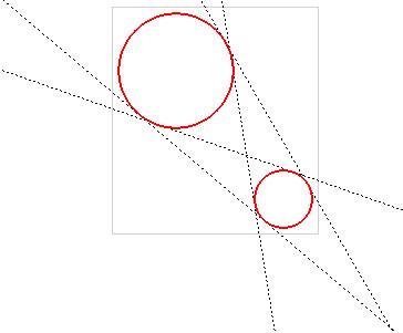 Построение прямой, касательной к двум кривым
