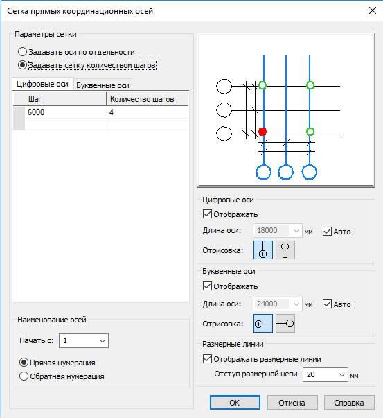 Построение сетки координационных осей
