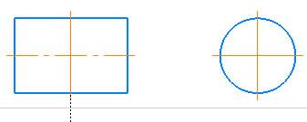 Построение окружности и прямоугольника с осевыми линиями